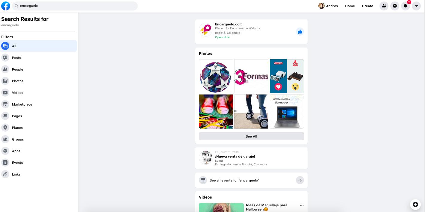 pagina de facebook compras seguras por internet