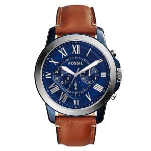 a3cd56abf0a4 Reloj Fossil para Hombre 44mm «Grant Quartz» Azul y Plateado