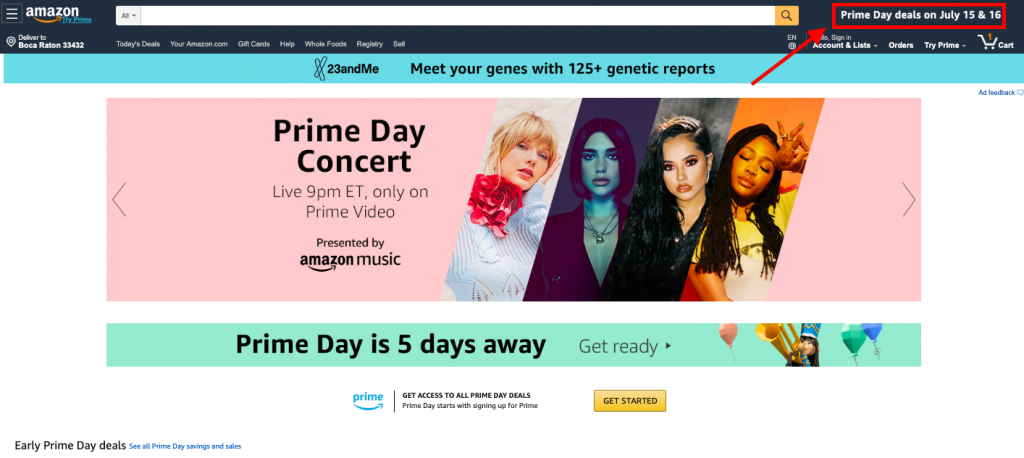 amazon website on prime day