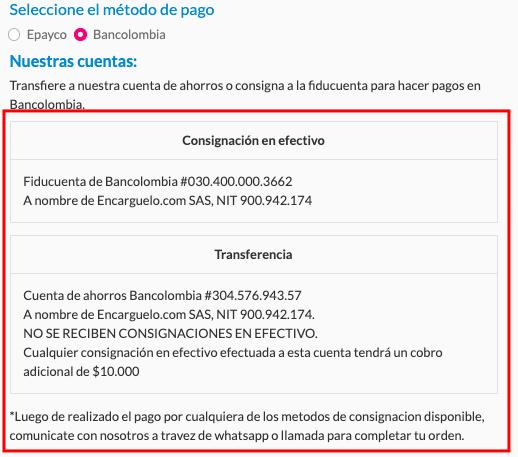 pagos por bancolombia comprando en linea