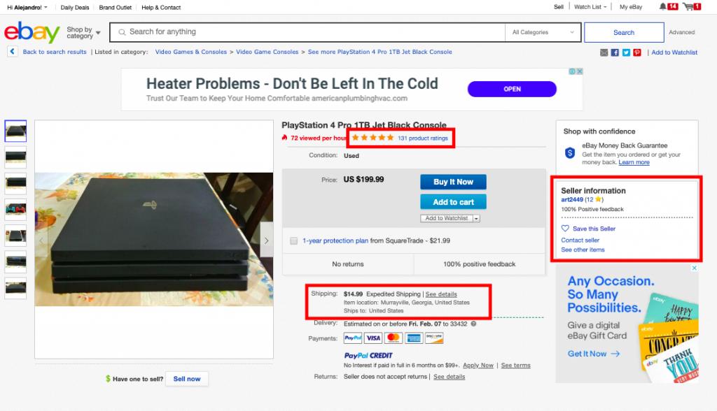 ebay vendedor