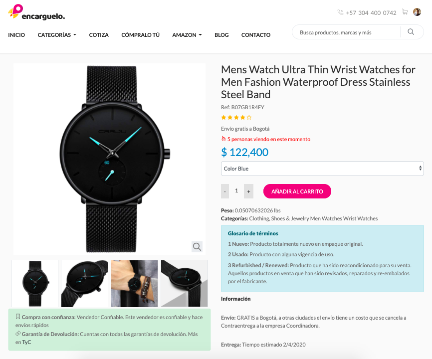 reloj en tienda online