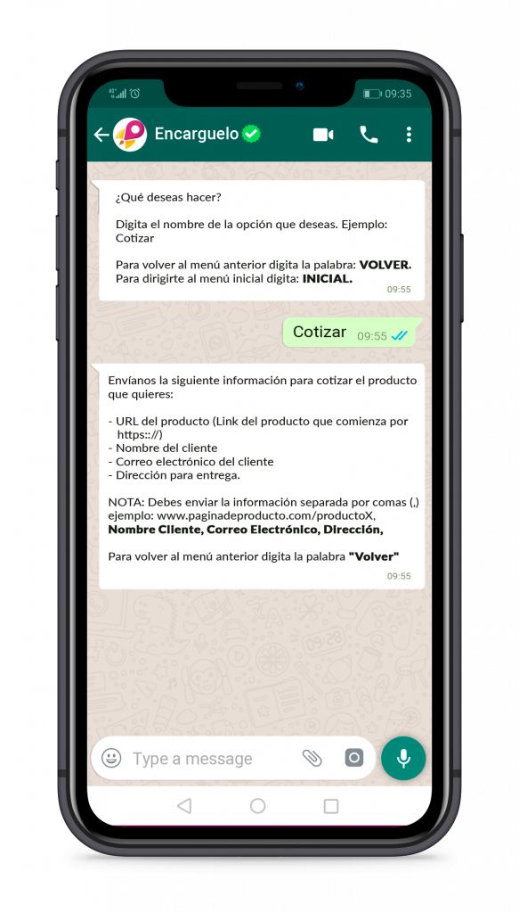 smartphone mostrando pasos de nuestra tienda online
