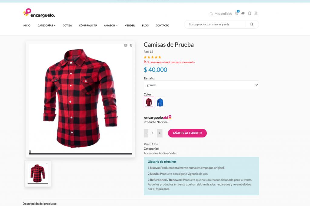 detalle del producto vender en linea